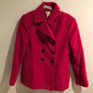 St. Johns Bay magenta pea coat with black buttons.